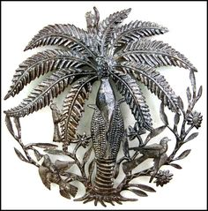 """Round Coconut Tree Metal Art Wall Decor - Haitian Recycled Steel Drum - 24"""""""