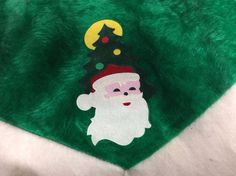 "Vintage Christmas Felt Skirt Small Tree 30"" Diameter Santa Green"