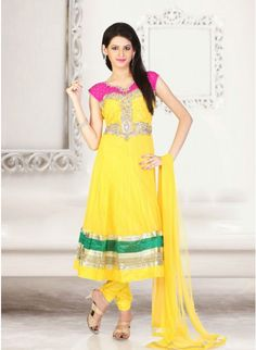 Stunning Lemon yellow #anarkali_suit with leaf work