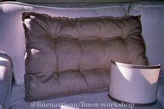 Quilted Cushion mattress in linen,Tufted cushion, Futon cushion, Knotting pillow quilt, French cushion mattress,