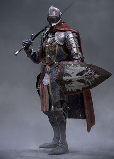 m Fighter Plate Armor Helm Shield Cloak Sword