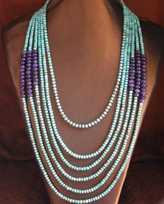 Turquoise Heishi & Amethyst Necklace