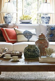 Frontgate Blue and white plus coral Chinoiserie for styling your living room.