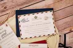 Travel Wedding Invite, Letter Wedding Invitation, Telegram Invite by EverLuxeInvitations