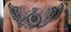 Not really about the wings, more so for the clock design. Chest Piece Tattoos, Chest Tattoo, Rose Tattoos, Body Art Tattoos, Wing Tattoos, Piercing Tattoo, Piercings, Compass Tattoo, Tattoo Designs