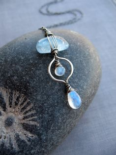 Aquamarine, Moonstone & Sterling Silver Wire Wrapped Pebble Necklace Brenda McGowan Jewelry