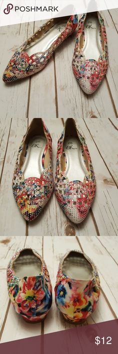 Adorable rhinestone flats Pointy toe Small 1/2 inch wedge Multi color florals I bought on posh and a little tight on me. Best on narrow foot.  Very sad I have to let them go.  Like New condition. Never worn by me or previous owner it's ok Shoes Flats & Loafers