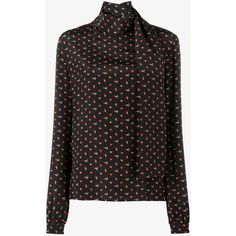 Saint Laurent micro heart and lightning bolt print blouse (1,738,790 KRW) found on Polyvore featuring women's fashion, tops, blouses, silk shirt, silk blouse, tie neck tie, long sleeve tops and shirt blouse