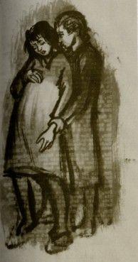 """""""Pregnant Woman."""" Drawing by Ravensbrück prisoner Helen Ernst. Ravensbrucker Zeichnungen.(Original in Historisches Museum Schwerin, Germany.)"""
