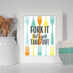 Fork Art Utensil Art Fork It Let's Get Take-Out by EatSayLove