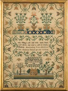 A mid 19th century needlework sampler: the central verse enclosed by pots of flowering shrubs, birds and house with garden, within a floral meander border, worked in coloured silks...