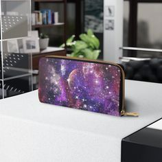 Zipper Wallet, Faux Leather Wallet, Gift for Daughter, Girls Purses, Space Galaxy Design