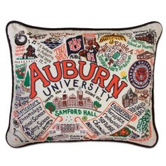 Our Catstudio embroidered Auburn University accent pillow features campus landmarks such as Samford Hall, Hargis Hall, Tiger Walk and Jordan-Hare Stadium all embroidered on light colored cotton fabric. Makes a great graduation or birthday gift. Tiger Walking, Chalet Chic, Monogram Shop, Unisex Gifts, Auburn Tigers, Auburn Logo, Auburn University, Down South, Decorative Throw Pillows