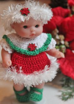 Crochet outfit for Berenguer 5 inch baby doll Christmas Dress Set