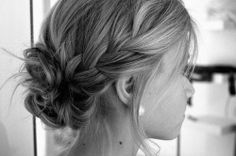 Modern rustic french plait #wedding #hair #updo bun