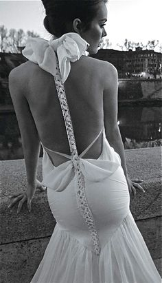 Dramatic Back Revealing Wedding Gown by Inbal Dror