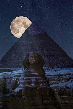 Moon behind the Pyramid and Sphinx, Egypt