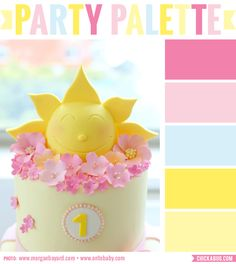 "Party palette: Color inspiration for a ""You Are My Sunshine"" party #colorpalette"