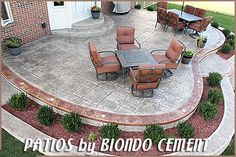 Stamped Concrete Patios Rochester, MI-Biondo Cement, I love the in between planter ideas~ Concrete Patios, Concrete Patio Designs, Cement Patio, Backyard Patio Designs, Brick Patios, Backyard Landscaping, Patio Ideas, Backyard Ideas, Cement House