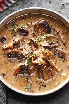 Treat dinner guests to this premeal soup loaded with earthy, umami flavor from the mushrooms and soy sauce. Puréeing only some of the slow-cooker mushroom soup gives the dish complex texture and eye appeal. Garnish with additional black pepper and chopped Slow Cooker Soup, Slow Cooker Recipes, Crockpot Recipes, Cooking Recipes, Hamburger Recipes, Thm Recipes, Barbecue Recipes, Drink Recipes, Fall Recipes