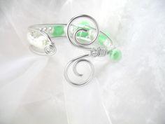 Bracelet Fil d'aluminium et porcelaine froide Vert d'eau