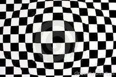 a background of distorted black and white squares