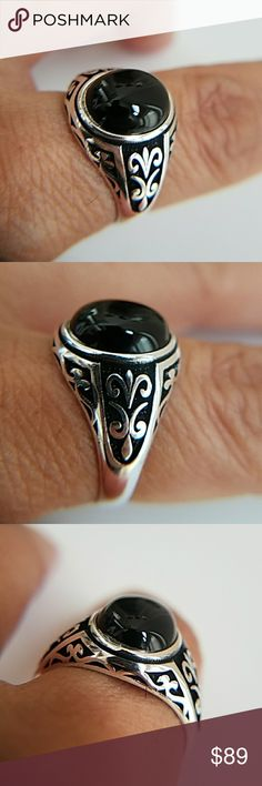 14k Gold plated Black ONYX  men's Ring 14k Gold plated over Sterling silver men's Ring  with a Black Oval ONYX  Available in sizes 8 9 10 11 12 13. Item#0010 Jewelry Rings