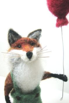 Needle Felted Fox  miniature animal  Home decor   door madamecraig