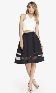 High waist organza midi | Express | pair it with a fitted sweater and a round toed pump and it's so chic