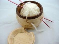 Lidded Wooden Knitting Bowl...Love!