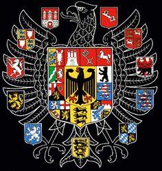 German National Arms of West German States and their predecessors, from top left : Hamburg (1450), Bremen (1369), Braunschweig-Grubenhagen (1390), Berlin (1460), Hessen (1247), Bayern (1302), Schwaben (1216), Saarbrücken (1284), Rheinpfalz (1252), Westfalen (1480) and Schleswig-Holstein (1386); Main shield: Hamburg, Bremen, Niedersachsen, Berlin, Hessen, Bayern, Baden-Württemberg, Saarland, Rheinland-Pfalz, Nordrhein-Westfalen and Schleswig-Holstein.
