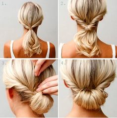the easy chignon! I find this one easier to make really nice and much less hassle on medium length hair than long hair. Up Dos For Medium Hair, Medium Hair Styles, Curly Hair Styles, Updos For Thin Hair, Updos For Medium Length Hair Tutorial, Hair Medium, Medium Long, Easy Updo Thin Hair, Hair In A Bun