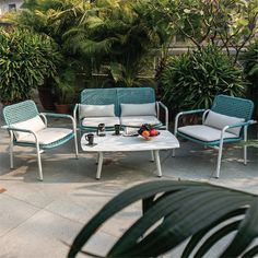 Add this vibrant blue sofa set by Idus to your garden or terrace and enjoy the outdoors this summer! Ditch the monotony and go for bright colours this season, and allow IDUS to help you with the most tastefully designed outdoor furniture. Visit our story in Kirti Nagar, New Delhi for more exciting options! Outdoor Garden Furniture, Outdoor Sofa, Outdoor Spaces, Outdoor Living, Sofa Furniture, Online Furniture, Furniture Design, Blue Sofa Set, Bright Colours
