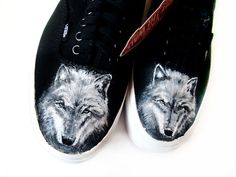 Personalized handpainted shoes Wolves Shoes wolf by MadCandies
