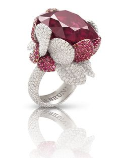 Pasquale Bruni - Anello in oro bianco con rubellite, rubini e diamanti