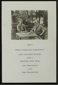 White House Christmas Card | (1943) The Roosevelt's card.