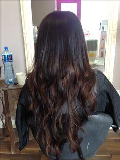 Beautiful Brunette/caramel Balyage on very long hair