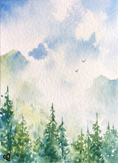 Original ACEO watercolor painting - Pines and mists