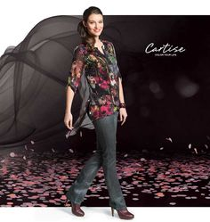 Floral print blouse and jeans.  #fallfashion #musthave #Cartise #women #apparel #coloryourlife www.cartise.ca