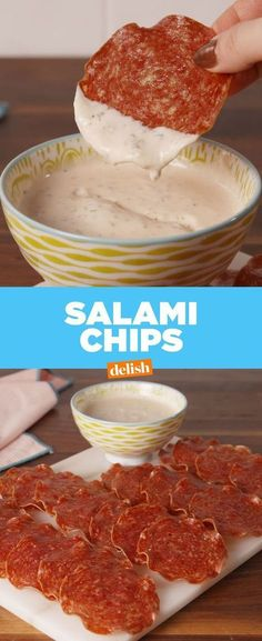 If you love bacon, you'll be obsessed with this low-carb snack. Get the recipe at Delish.com. #recipe #easyrecipes #snack #pork #salami #chips #dip #appetizer #lowcarb #lowcarbdiet