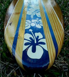Cool Ocean Blue Tropical Surfboard Wall Artwork 4 Foot by decosurf