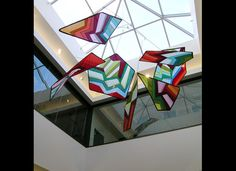Suspended banners, fabric sculptures and fabric mobile art are ideal for decorating atrium installations and entry spaces. Add a sense of tranquility and a splash of color to your hallway or interior space. Banner Art Studio is expert at creating art mobiles and large scale mobile installations for commercial properties. See more large-scale hanging art mobiles at http://bannerart.com/products/hanging-mobile-art/