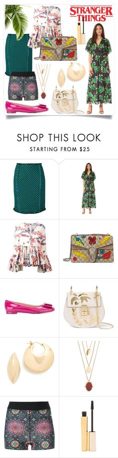 """""""stranger things"""" by kristeen9 ❤ liked on Polyvore featuring Gianluca Capannolo, Cooper & Ella, MSGM, Gucci, Salvatore Ferragamo, Soave Oro, Madewell, NIKE and Stila"""