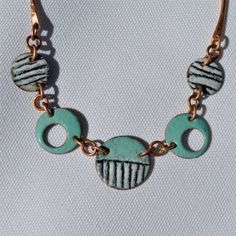 Sgraffito Torch Fired Enamel Necklace with Hand Forged Copper Chain