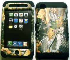 Camo Mossy on Black Rubber Skin for Apple ipod Touch iTouch 4G 4 Hybrid 2 in 1 Hard Soft Cover Case