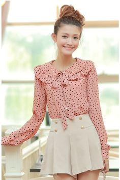 Pink Ruffled Pattern Blouse, iAnyWear