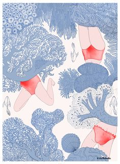 LES BAIGNEUSES ©LaRobotte. Carte Disponible sur Etsy