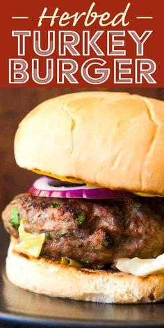 Ground Turkey Burgers, Best Turkey Burgers, Grilled Turkey Burgers, Turkey Burger Recipes, Beef Burgers, Veggie Burgers, Hamburger Recipes, Meat Recipes, Grilling Burgers
