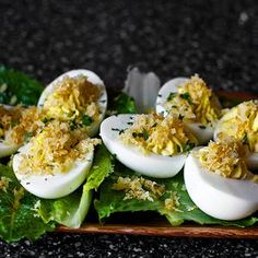 Caesar Salad Deviled Eggs