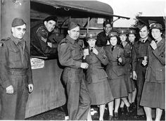 Canadian soldiers in Britain, including members of the Canadian Women's Army.